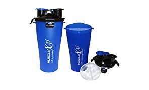 MuscleXP Pre And Post Workout Shaker Bottle With Strainer 500ml - Design 5