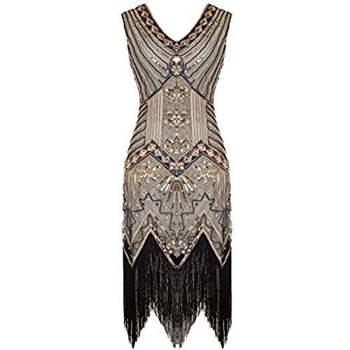 FAIRY COUPLE 1920s Flapper Double V-Neck Sequined Rhinestone Embellished  Fringed Dress D20S003(XL,Gold)
