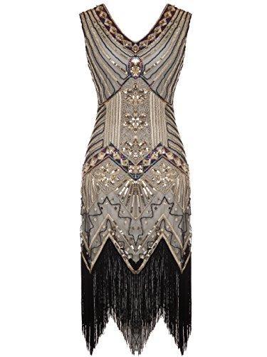 apper doppelte V-Ausschnitt Pailletten Strass verschönert fransen Kleid D20S003(XL,Gold) (20er Jahre Kleidung)