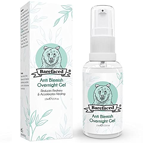 BeBarefaced Natural Anti Blemish Overnight Spot Treatment Gel - Sanitises, Speeds Healing Process, Reduces Redness, Combats Swelling and Soothes Inflammation - With Calming Organic Aloe and Seaweed