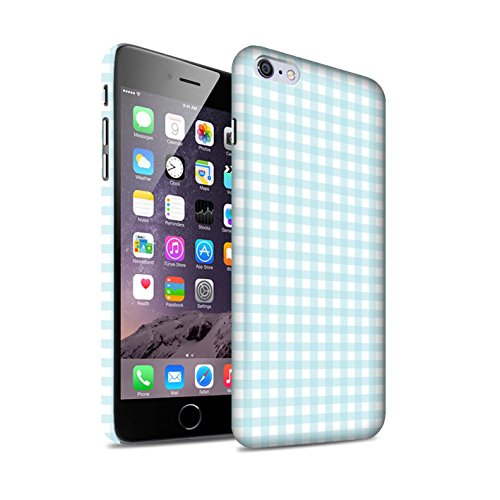 STUFF4 Matte Snap-On Hülle / Case für Apple iPhone 6S / Rosa Argyle Muster / Wintermode Kollektion Hellblau Gingham