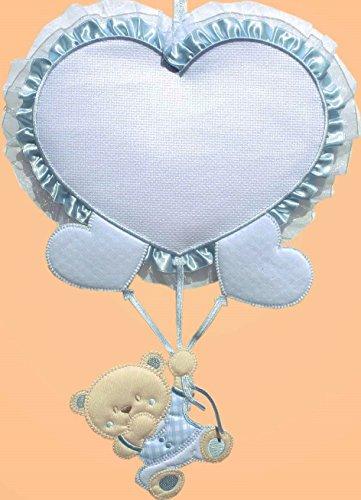 Fiocco nascita palloncino cuore 29x23 cm (azzurro)