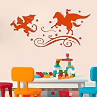 Wall Decal Vinyl Sticker Fairy Tales Reading Books Knight Dragon Chase Good and Evil Good Night Kids Room Nursery Bedroom 57x120cm