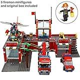 Ingenious Toys Estación de Bomberos Set Motor Helicóptero & 5 Bombero Figuras Cofre 774pcs Compatible Bloques de Construcción #8X51