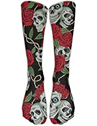Unisex Cotton Vintage Red Rose Skull Compression Sports Socks