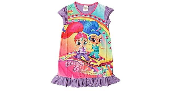 Girls Shimmer & Shine Genie Rainbow Frill Hem Nightdress Nightie Sizes from 2 to 6 Years Sleepwear & Robes