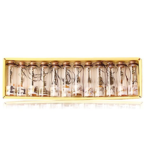 YFZYT 12 Pcs Vintage Wishing Flaschen Mini Kleine Glasflaschen mit Korken und Antiken Bronze...