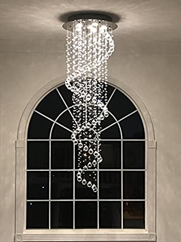 Healthy Del # Spiral Pendant Light Modern Crystal Beads Size D50cm h156cm