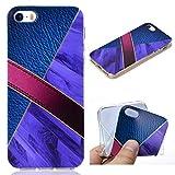 All Do Coque iPhone 5/5S/SE, Modèle de Cuir Marbre Luxe Étui Silicone Souple TPU Housse Ultra Mince, Coque Antichoc Anti-Rayures pour iPhone 5/5S/SE - Violet Foncé