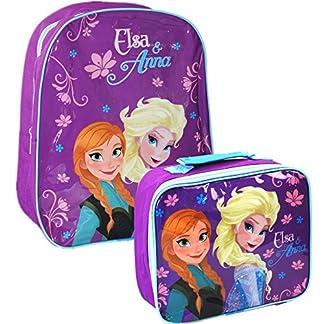 Disney® Set de oficial niños escuela mochila mochila bolsa de viaje y bolsa para el almuerzo de Frozen–Elsa y Anna