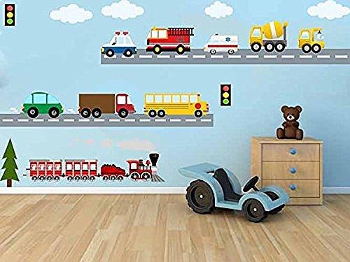 Bambini decalcomania da parete, tessuto città Sistema di Trasporto, treno, auto, scuolabus, Fire Truck.Per