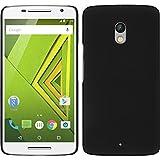 PhoneNatic Case für Motorola Moto X Play Hülle schwarz gummiert Hard-case + 2 Schutzfolien