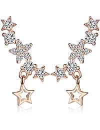 Infinite U Womens Drop Dangle Stars Earrings 925 Sterling Silver Cubic Zirconia Studs Sweep Ear Cuffs Wraps, Rose Gold
