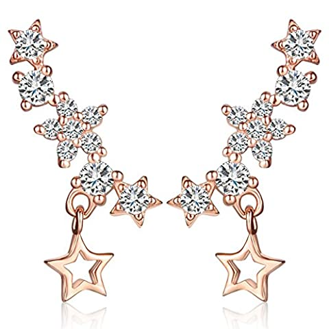 Infinite U Womens Drop Dangle Stars Earrings 925 Sterling Silver Cubic Zirconia Studs Sweep Ear Cuffs Wraps, Rose