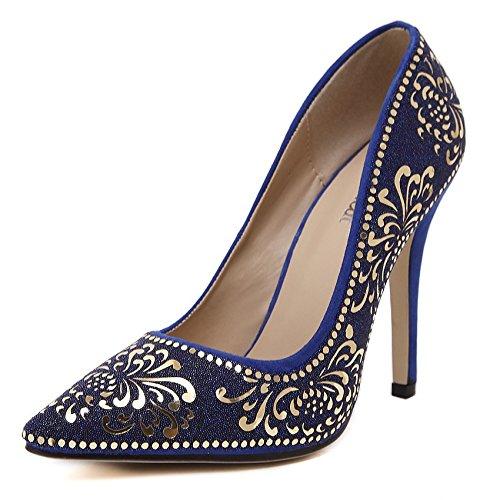 GS~LY Luce margherita-Hot Chip ultra tacco alto donna scarpe tacchi alti Blue
