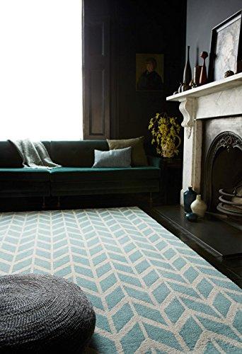 KADIMA DESIGN Moderner Designer Teppich Armel Chevron Rug 200x300cm Blue AR05 Blau Microfibre Polyester (Chevron Läufer Teppich Schwarz)