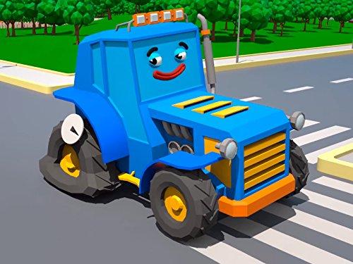 Blauer Traktor und weißer Krankenwagen Station Zubehör