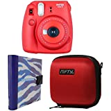 Nifty FK-M8RA86PP Fuji Instax Mini 8 Camera Kit With Case Red Plus Purple/White Zebra Print Album (Raspberry)