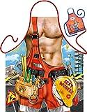 Witzige Schürze mit Motiv - Sexy worker, Bauarbeiter - Grillschürze, Kochschürze, Backen, Geschenk, Geburtstag - Mit Mini Schürze