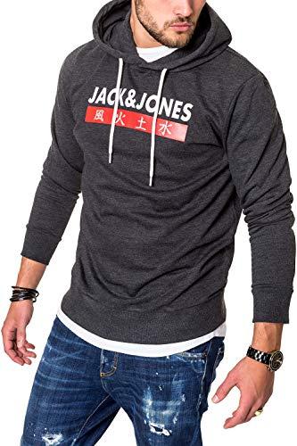 JACK & JONES Herren Hoodie Kapuzenpullover Sweatshirt Pullover Streetwear 4 Elements (Large, Dark Grey Melange)