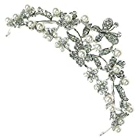 Large Floral and Butterfly Austrian Crystal and Pearl Crown Hair Tiara Bridal Wedding Head Band Piece Accessory