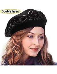 d7f5626c4af LADYBRO Wool Beret for Women 2 Layers Rhinestones Headgear Knit Hats Winter  Warm Soft