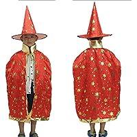 Eizur Bambini Halloween Mantello con Cappello Strega/ Mago Cappotto Raso Wicca Robe Cape Medievale Scialle Masquerade Costumi Cosplay Accessori - Rosso