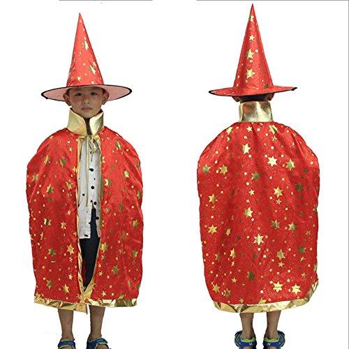 Eizur Bambini Halloween Mantello con Cappello Strega/ Mago Cappotto Raso Wicca Robe Cape Medievale Scialle Masquerade Costumi Cosplay Accessori - Rosso - Stars Il Partito Collare