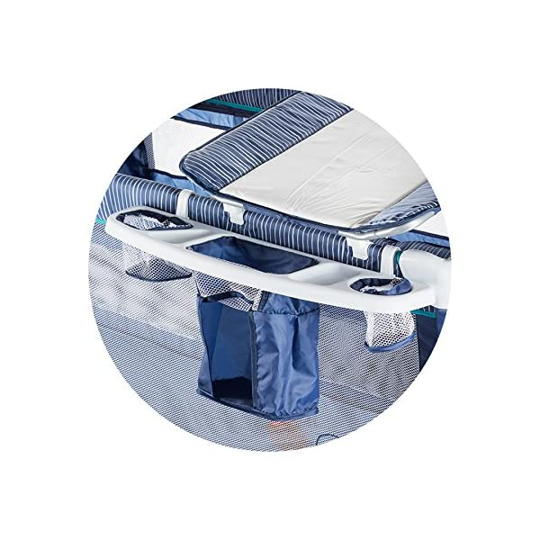 Chipolino travel cot Casablanca, changing mat, accessory bags, side entrance blue Chipolino Includes a soft luxurious changing mat Side entrance with zipper creates additional comfort for the child Practical side storage for diapers and other accessories 4