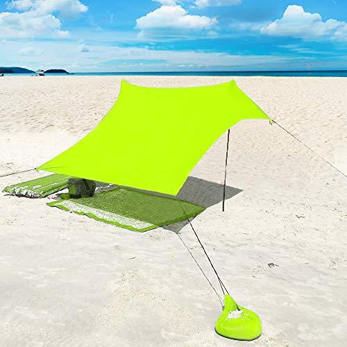 XISHUAI Strandzelt mit Sand Anker - Portable Strandmuschel uv Schutz mit 100% Lycra - Sonnensegel für 2-4 Personen 210 X 210 cm für Strand Camping Wandern Angeln Picknick