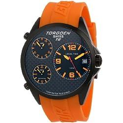 Torgoen Swiss T08306Herren Quarz-Armbanduhr Pilot mit schwarzem ECHT CARBON Faser Zifferblatt, Triple Time Zone und Schulterriemen PU Orange