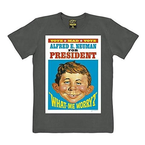 T-shirt Alfred E. Neumann - For President - T-Shirt Le magazine MAD - T-shirt à col rond - gris - T-shirt original de la marque TRAKTOR®, taille XXL