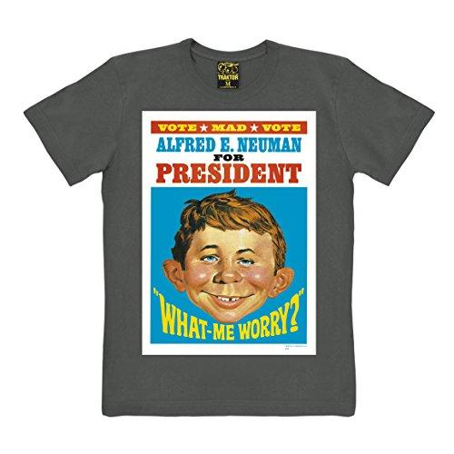 T-shirt Slim Fit Alfred E. Neuman - For President - maglia Slim Fit rivista Mad Magazine - maglietta girocollo - grafite - t-shirt originale della marca TRAKTOR®, taglia XXL