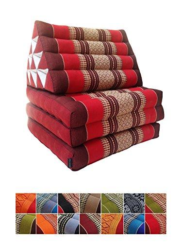 Materasso tradizionale Thai di kapok in 3 strati, con cuscino reclinabile triangolare in stile orientale, per yoga, massaggi o relax Red, Maroon