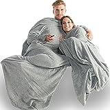 CelinaTex Calgary Ärmel Kuscheldecke 150x180 35cm Fußtasche TV-Decke Coral Fleece Ärmeldecke 5000011 Grau weiß Meliert