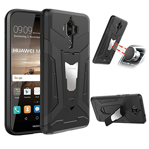 ykooe Huawei Mate 9 Hülle, Silikon Handyhülle Huawei Mate 9 Schutzhülle Dual Layer Hybrid Handys Schutz mit Ständer Case für Huawei Mate 9 - Schwarz (5,9 Zoll)