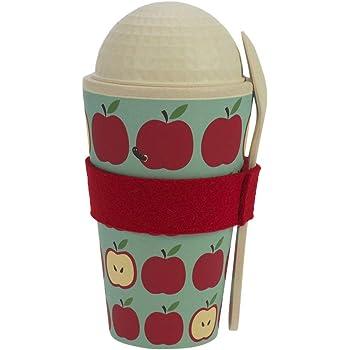 ebos Müsli-to-Go Becher aus Bambus   Müslibecher, Müslischale, Joghurtbecher   wiederverwendbar, umweltfreundlich, spülmaschinengeeignet, Verschiedene Designs (Paradiesapfel)