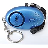 Mini Minder Key Ring Persönliche Schlüsselalarm Angriff Rape Alarm 140dB mit Fackel (Blau)