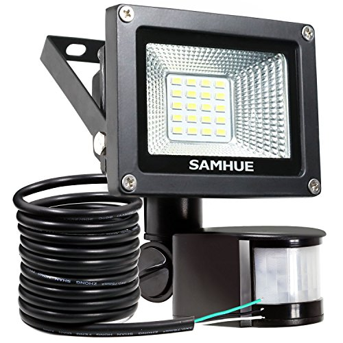 Faretto LED con sensore di movimento 10W, IP65 Proiettore LED esterno, SAMHUE illuminazione bianco freddo 6000K 900LM, Lampada LED a basso consumo ene