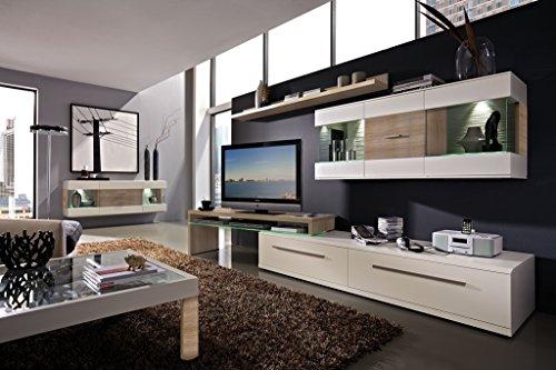 Design Wohnwand 4-teilig, mit Glasvitrinen, - Weiß Mattlack / Sonoma Eiche Nachbildung, Soft Close-Dämpfung, Selbsteinzug, Wohngalerie Montiert