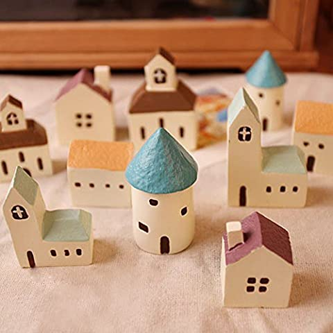 5 Counts Country Architecture Mini Figurines, Church, Cafe, Castle & Cottage