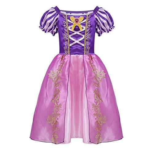 iixpin Mädchen Prinzessin Kostüm Baby Prinzessin Kleid Märchen Cosplay Karneval Fasching Halloween Kostüm Lila 92-98