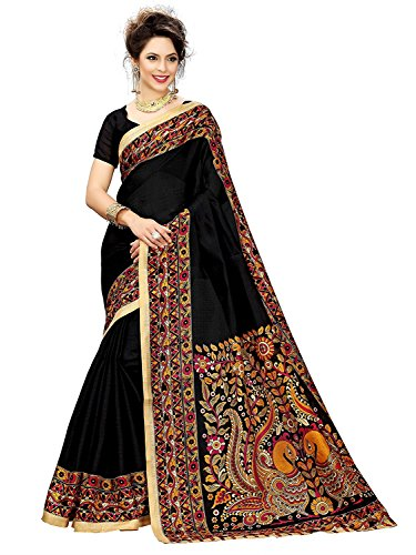 Crazy Women's Printed Bhagalpuri Cotton Saree with Matching Blouse peice (Black)