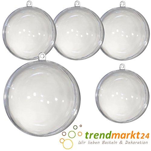 Acryl-Kugel Ø 80 mm groß 5 Stück  Diy Weihnachtskugel Transparent-Kugel teilbar aus Kunststoff  Christbaum-Tannen-Kugel-Schmuck Plastik-Aufhänger Weihnachten | trendmarkt24 22080