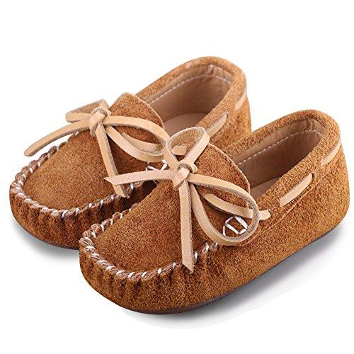 Katliu Mädchen Jungen Mokassins Wildleder Rutschfest Lauflernschuhe Kinder Loafers Baby Schuhe mit Weich Sohle für Frühling Sommer,Braun 19 (Wildleder-bootsschuhe)