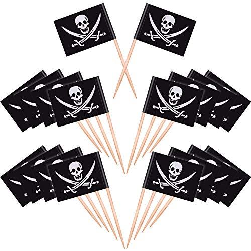 100 Stück kreativer Einweg-Zahnstocher aus Holz mit Piraten-Flagge, für Kuchen, Lebensmittel, Vorspeisen, Cocktails, Kuchen-Dekorationen und Kinder-Halloween-Geburtstagsparty-Dekorationen.