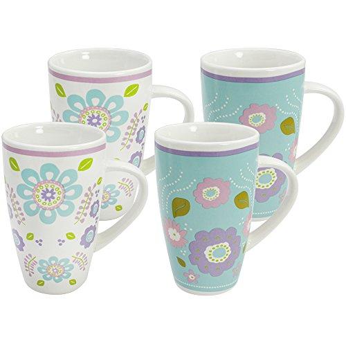 COM-FOUR® 4x Kaffeebecher XL farbig, Kaffeepott aus Keramik, mit modernen Blumen Design, bis zu 385 ml (4er Blume türkis)
