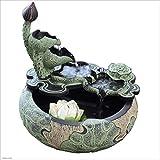 Gartenbrunnen Luftbefeuchter Brunnen Dekoration Stein Steingarten Indoor Brunnen Dekoration Kreative Lotusblatt Glück Feng Shui Fischteich Wasserlandschaft Feng Shui