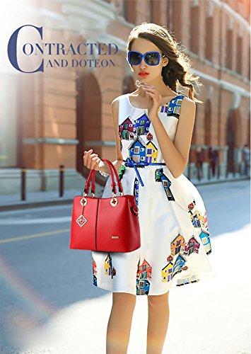 NICOLE&DORIS Nuove donne / Donna Fashion Boutique Top Handle borsa di Crossbody della spalla della borsa del Tote della cartella PU vino rosso Grande rosso