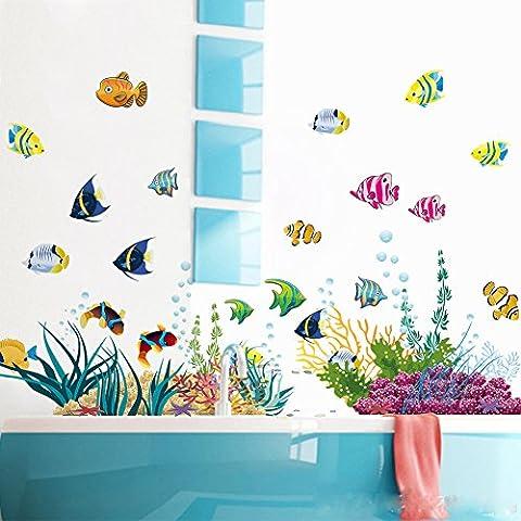 Sotto il mare con il blu profondo mare pesci decorativi adesivi da parete in vinile adesivi da parete rimovibile, per camera dei bambini stanza nursery, ragazzi e ragazze camera da letto